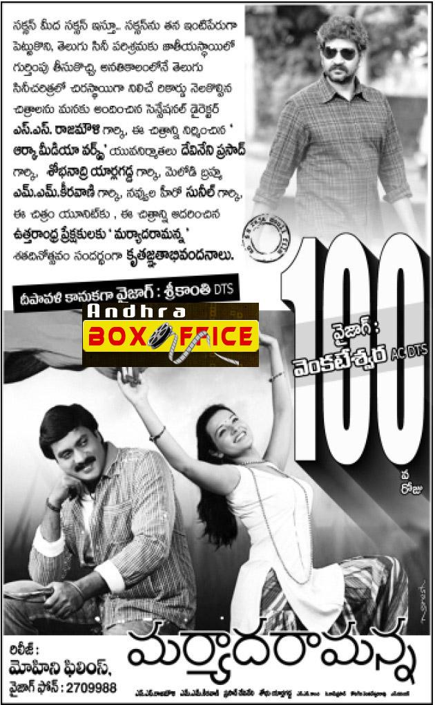 Maryada Ramanna 100 Days Andhraboxoffice Com